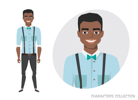 Stylish young black african american man in casual clothes. Illustration