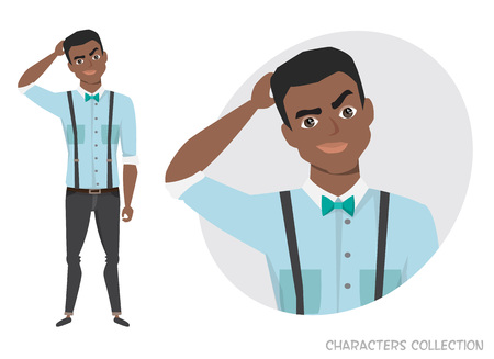 de zwarte Afro-Amerikaanse man is peinzend, denkend Stock Illustratie