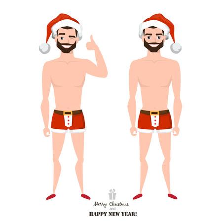 sexy man wearing santa claus costume