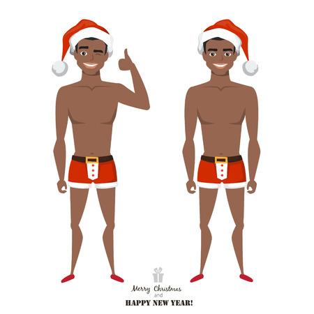 sexy black african american man wearing santa claus costume
