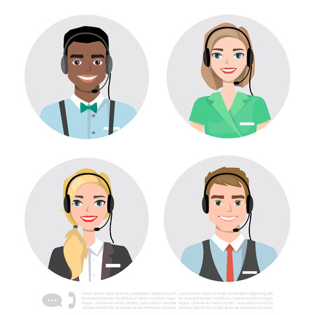 Call Center Operator Icons. Vector Cartoon Illustration
