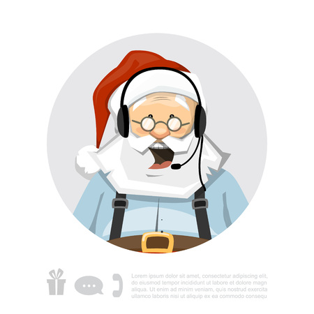 Santa Claus With Headset Vector Character Иллюстрация