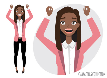 Beautiful young black african american woman rejoices and happy.