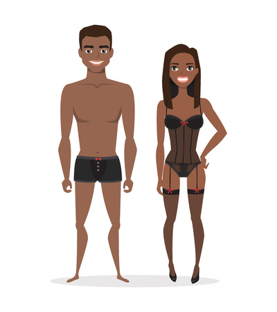 African american couple in lingerie or undergarments.