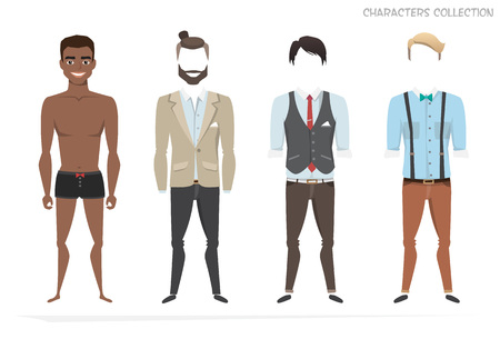 Clothing set for african american male. Illustration