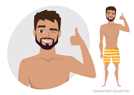 Positive guy smiling and recommended avatar character vector illustration Иллюстрация