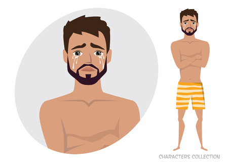 The guy crossed his arms and cries sad emoticon character vector illustration