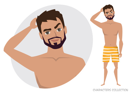 The man is pensive thinking emoticon character vector illustration