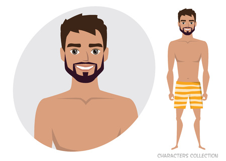 Stylish manly man in a beach swimming trunks avatar emoticon character