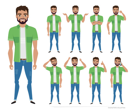 Set of the most commonly used poses and emotions Illustration
