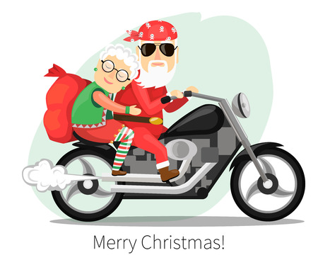 Santa Claus and Mrs. riding on a steep motorcycle Ilustração