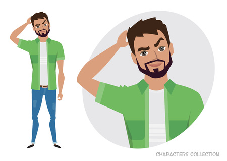 Portrait of handsome young thoughtful men. Vector character in cartoon style
