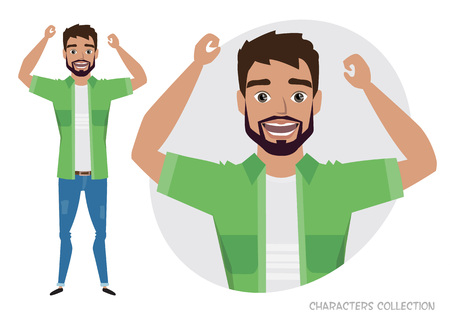 The men is happy and smiling. Cartoon style man. Emotion of joy and glee on the man face. The man portrait.  イラスト・ベクター素材
