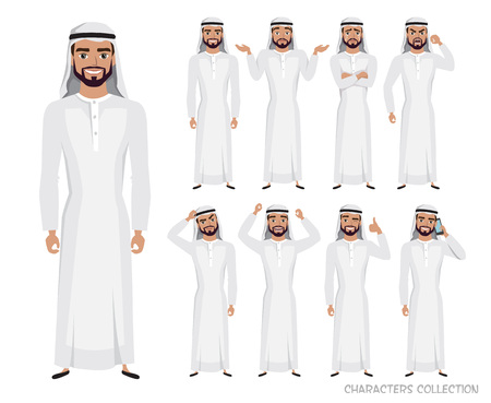 Arab Man character set of emotions and poses. Vector illustration in cartoon style.