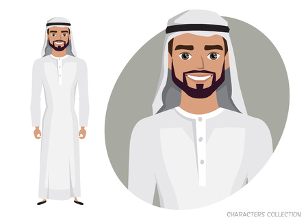 Arab Man character is happy and smiling. Vectores