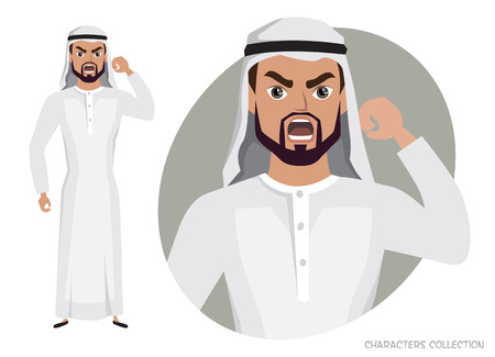The evil Arab Man character threatens with his hand Banco de Imagens