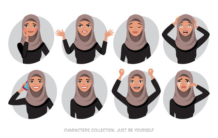 Arabische Frauen Charakter ist glücklich und lächelnd. Cartoon-Stil Frauen mit Hijab. Freude und Freude im Gesicht der Frau. Das Frauenporträt. Vektorgrafik