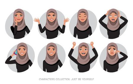 Postać arabskich kobiet jest szczęśliwa i uśmiechnięta. Kobiety w stylu kreskówek z hidżabem. Emocje radości i radości na twarzy kobiety. Portret kobiety. Ilustracje wektorowe
