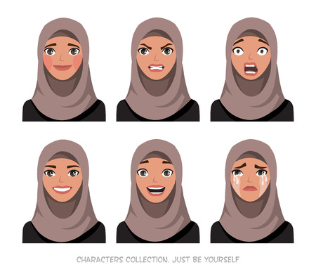 Arab women character set of emotions