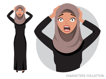 Surprised shocked eastern woman. Portrait of a beautiful Arabian Woman wearing Hijab, Muslim Woman wearing Hijab  イラスト・ベクター素材