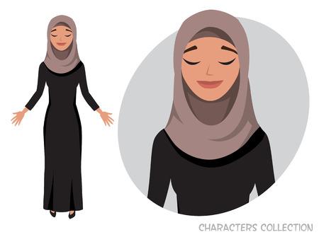 Beautiful young arabian woman relax and enjoy. Women praying Illustration