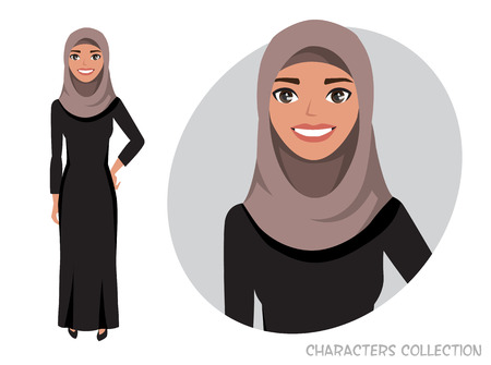 Arab women character is happy and smiling.
