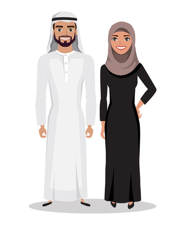 Arabic man and woman in traditional national costume