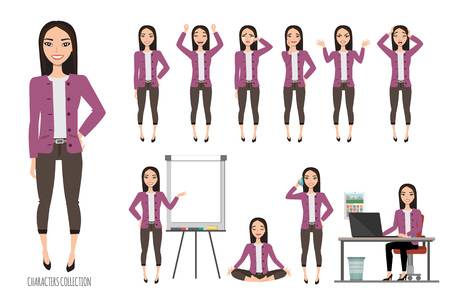 Asian Woman in office suit. Set of emotions and gestures to the young asian woman.