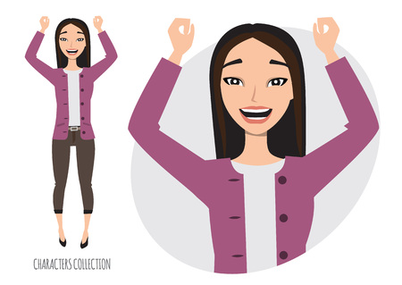 Asian woman rejoices and happy, vector illustration.