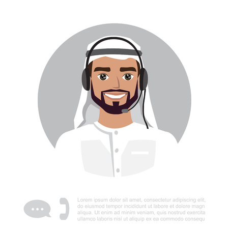 Young arabic Man With Headset Character.
