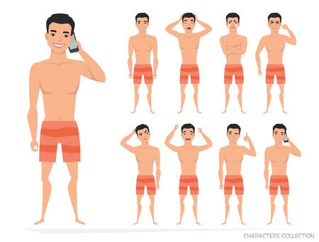 Set poses and emotions of a man icon.