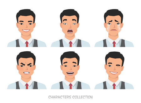 Set of emotions for asian business man.