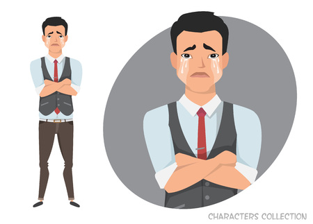 The Asian guy crossed his arms and cries. Illustration
