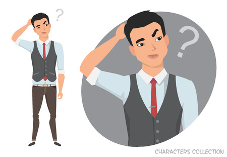 Portrait of handsome young Asian thoughtful man. Vector character in cartoon style.