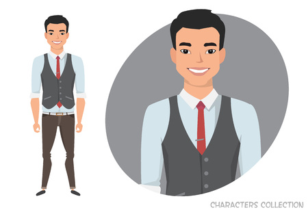 Stylish Asian young man in casual clothes. Vector character in cartoon style. Illustration