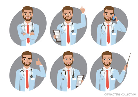 Doctor character set of poses. Vector illustration