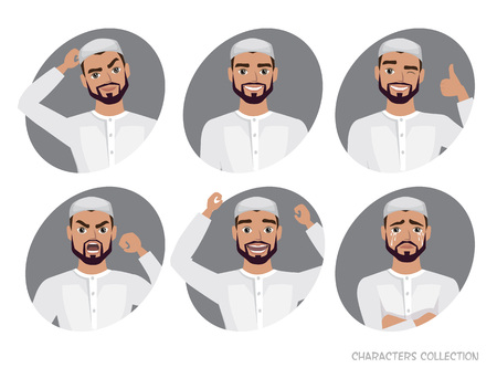 Muslim Arab Man character set of avatars.