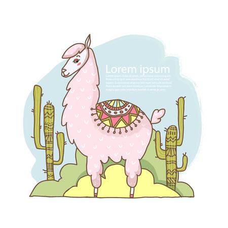 cute cartoon lama alpaca hand drawn