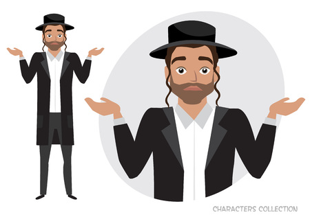 Young jew men doubt. Emotion of uncertainty and confusion on guy face. Cartoon style.