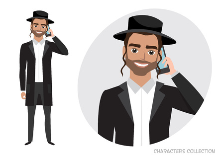 A jew man is talking on the phone. Vector character in cartoon style. Illustration