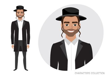 Amish man character vector illustration