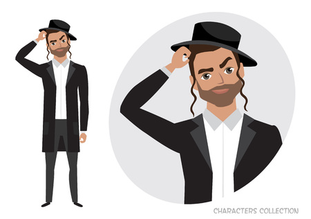 Portrait of handsome young jew thoughtful man. Vector character in cartoon style