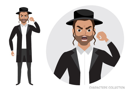 Angry jew men. Negative Emotions. Bad Days. Bad Mood Stressful men Illustration