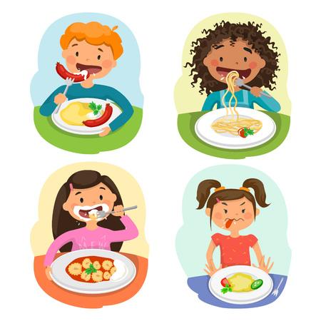 Mooie kinderen die van Gezonde Lunch in Cafetaria genieten