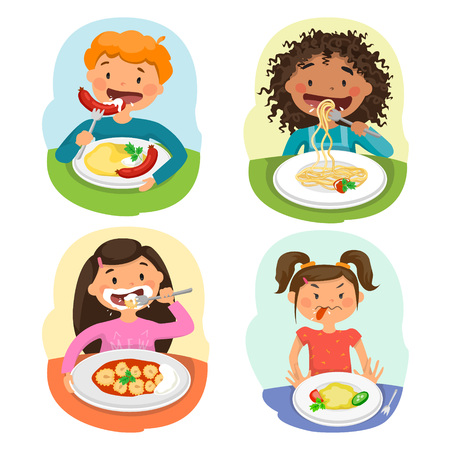 Beautiful childrens Enjoying Healthy Lunch In Cafeteria Illustration