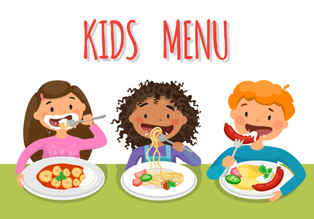 Beautiful childrens Enjoying Healthy Lunch In Cafeteria Vettoriali
