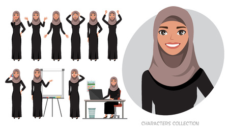 Set of emotions for arabic business woman.