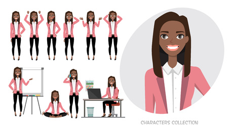 Set of emotions for black african american business woman. Çizim
