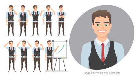 Set of emotions for business man. Stock Photo