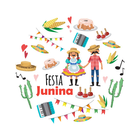 Festa Junina - Brazil June Festival. Folklore Holiday. Characters. Vector set. Illustration